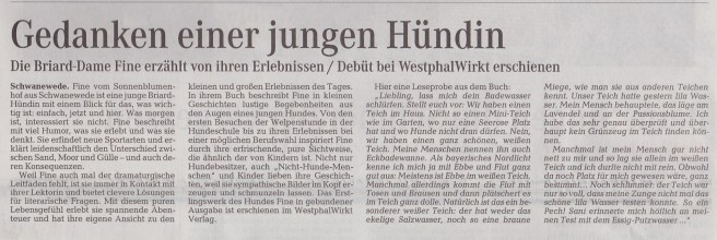 """Artikel im Weserkurier / Die Norddeutsche über Fines Buch """"Ist das ein Briard?"""""""