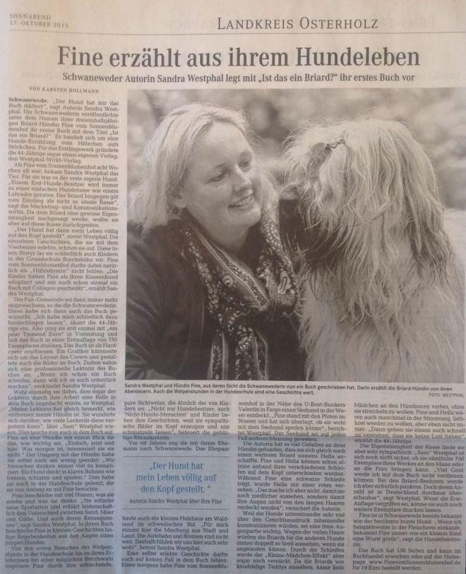 """Artikel in derNorddeutschen über Fines Buch """"Ist das ein Briard?"""""""