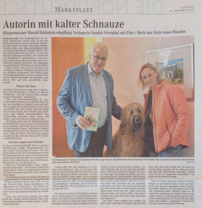 Fine vom Sonnenblumenhof besucht Schwanewedes Bürgermeister Hrald Stehnken.